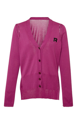 Medium rochas pink cotton cardigan with logo detail