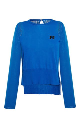 Medium rochas blue long sleeve cotton knit top 2
