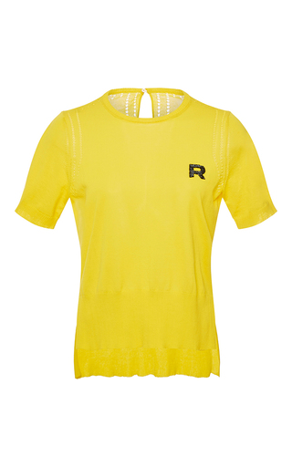 Medium rochas yellow short sleeve cotton knit top