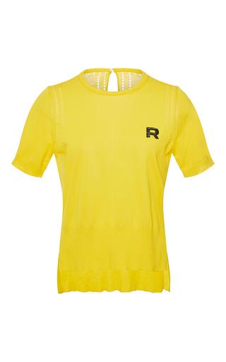Medium rochas yellow short sleeve cotton knit top