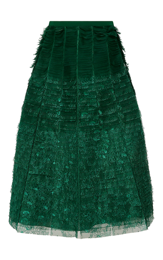Medium rochas green multi layered embroidered skirt