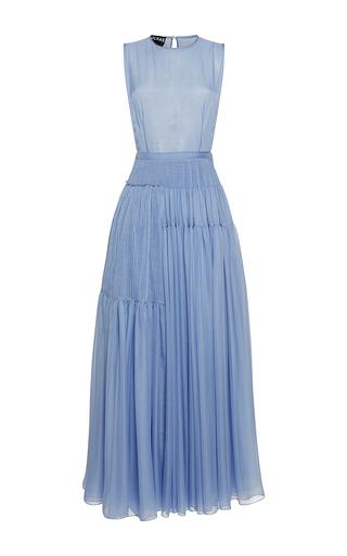 Medium rochas light blue sleeveless pleated chiffon a line gown