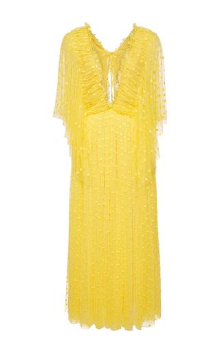 Medium rochas yellow plumetis butterfly sleeved maxi dress