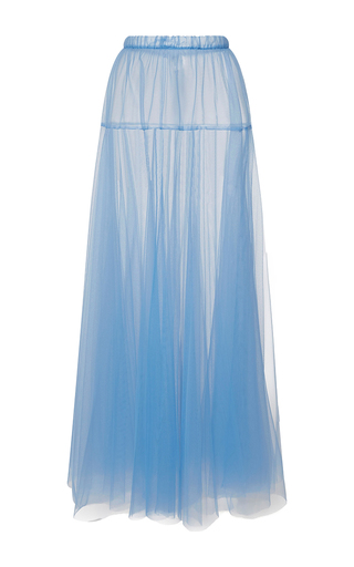 Medium rochas light blue layered tulle a line skirt