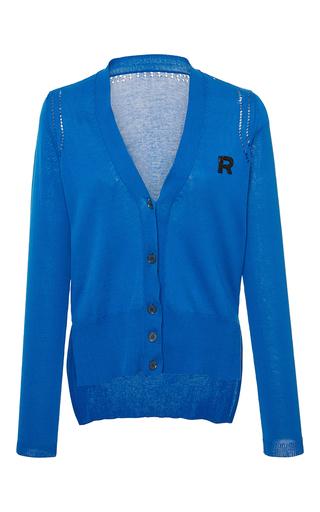 Medium rochas blue cotton cardigan with logo detail 2