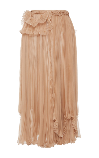 Medium rochas nude pleated chiffon skirt with draped detail