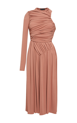 Medium rochas pink draped one shoulder midi dress 2