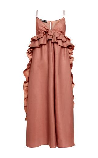 Medium rochas pink silk gazar gown with ruffle details