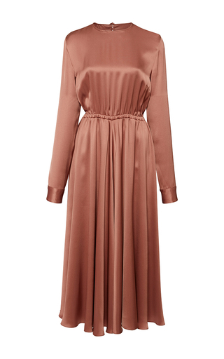 Medium rochas pink long sleeve silk pleated dress