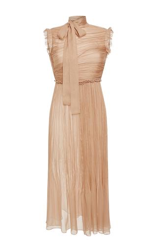 Medium rochas nude sleeveless draped silk chiffon midi dress