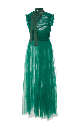 Medium rochas green sleeveless draped silk chiffon midi dress 2