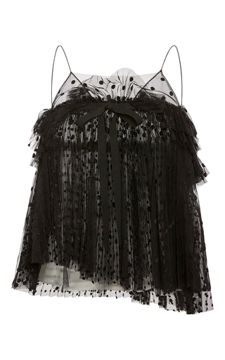 Medium rochas black layered plumetis tulle sleeveless top