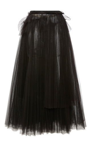 Medium rochas black draped high waist midi skirt 2