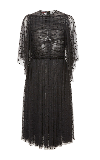 Medium rochas black tulle plumetis dress with ruffles on the top