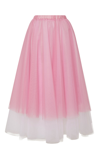 Medium rochas pink tulle a line midi skirt