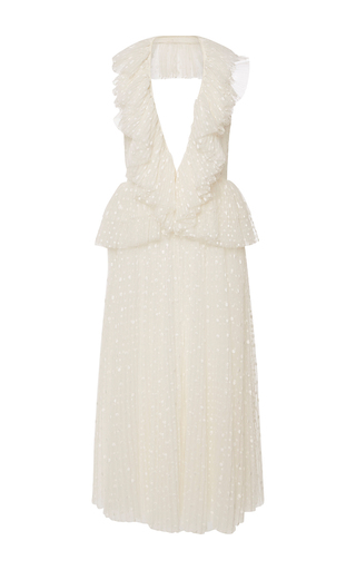 Medium rochas white tulle plumetis dress with pleated collar
