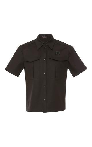 Medium rochas black short sleeve cotton top with logo embroidery