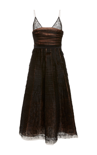 Medium rochas black layered lace detail a line dress