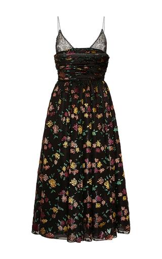 Medium rochas black hand painted velvet jacquard a line dress