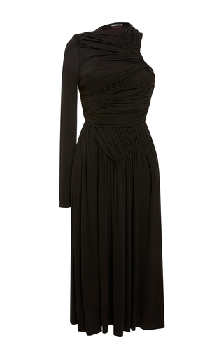 Medium rochas black draped one shoulder midi dress 3