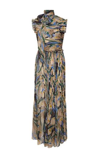 Medium rochas print chiffon tulip print column gown