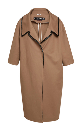Medium rochas tan heavy cotton coat with embroidered collar