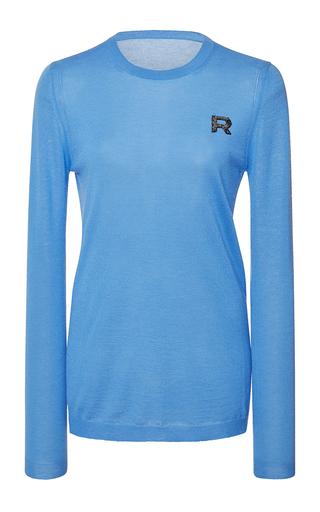 Medium rochas blue long sleeve cashmere knit