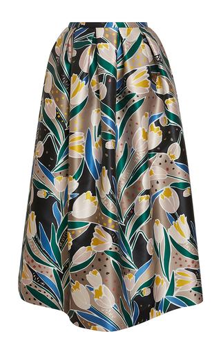 Medium rochas print tulip print duchess skirt
