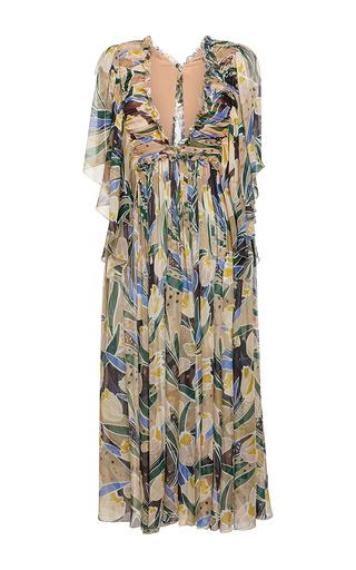 Medium rochas print chiffon tulip print v neck dress