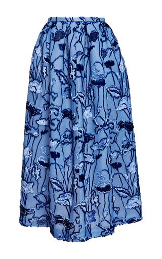 Medium rochas blue velvet floral jacquard a line skirt