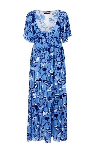 Medium rochas blue velvet floral jacquard column dress