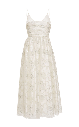 Medium rochas white layered lace detail a line dress 2