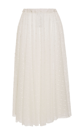 Medium rochas white tulle plumetis high waist skirt