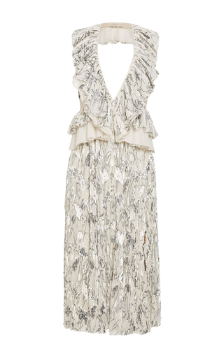 Medium rochas white dress velvet jacquard silver