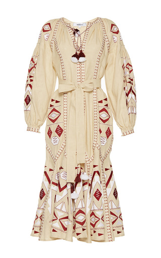 Medium march11 tan kilim embroidered midi dress