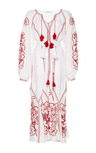 Medium march11 white dragon flower midi dress