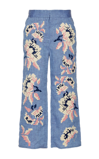 Medium march11 blue rose power cropped pants