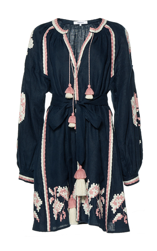 Medium march11 navy rose power embroidered mini dress
