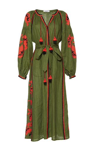 Medium march11 green rose power maxi dress