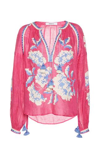 Medium march11 pink flower garden long sleeve blouse