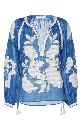 Medium march11 blue rose power long sleeve blouse