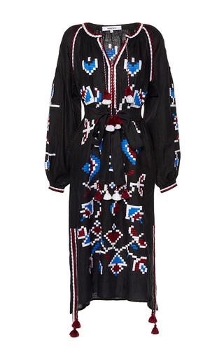 Medium march11 black flora long tunic dress