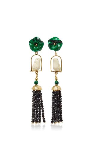 Medium of rare origin green malachite white swinger earring