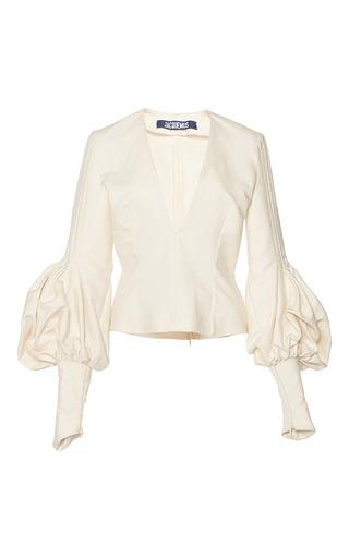 Medium jacquemus white structured bishop sleeve blouse