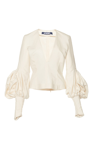 Medium jacquemus white structured bishop sleeve blouse