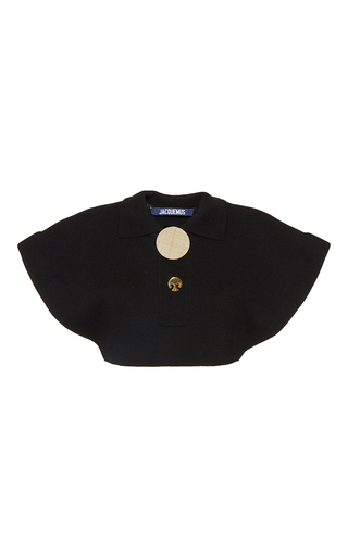 Medium jacquemus black cap sleeve cropped polo