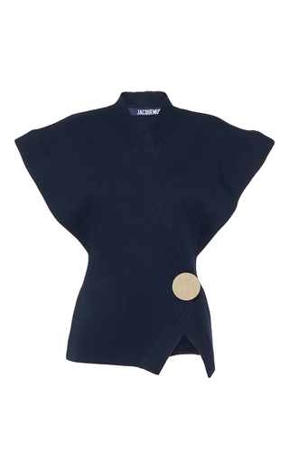Medium jacquemus navy cap sleeve cardigan top