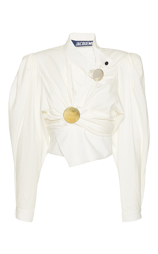 Medium jacquemus white button front cropped blouse