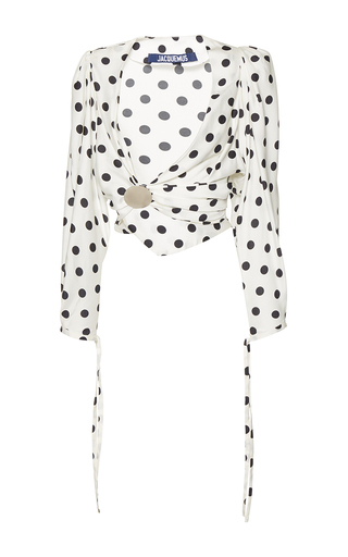 Medium jacquemus print polka dot cropped blouse
