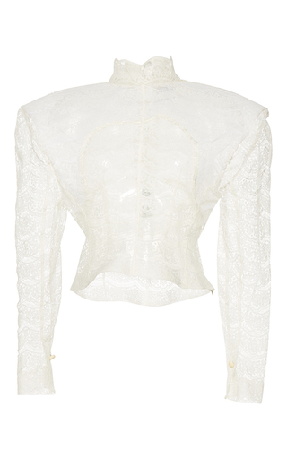Medium jacquemus white lace cropped blouse
